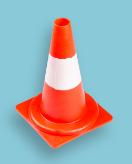 Verkeerskegel / Pilon 32 cm, soepele pvc, oranje met witte banden