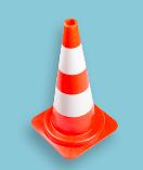 Verkeerskegel / Pilon 50 cm, soepele pvc, oranje met witte banden