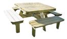 Picknick tafel Deluxe vierkant 140 x 140 cm